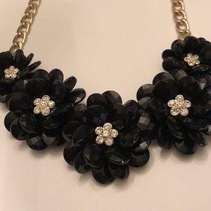 Black flower statement necklace